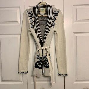 BILLABONG belted open front long cardigan M